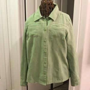 Susan graver lime green suede long sleeve shirt